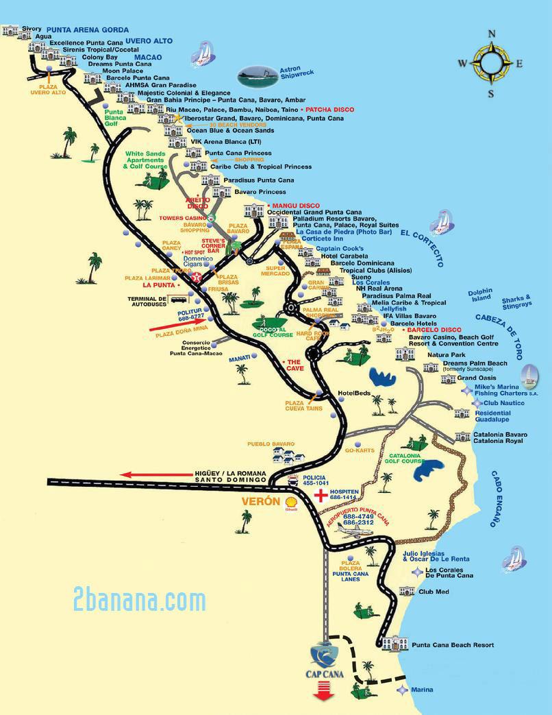 карта отелей на курорте пунта-кана